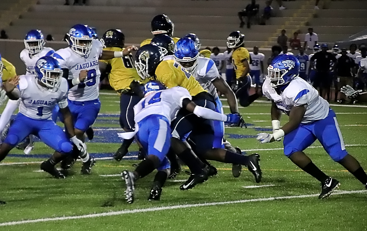 Stephenson's Dantre Fitzgearld (14) has been a part of a Jaguars defense that has allowed just 7.0 points per game this season. He and his teammates look to shut down Bradwell Institute on Friday in the first round of the Class 6A state playoffs. (Photo by Mark Brock)