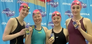 The Chamblee Lady Bulldogs 200-yard Medley Relay team won a second consecutive gold medal at the GHSA Class 4A/5A State Meet. This year's team (l-r) Kyla Maloney, Mary Adam, Evelyn Entrekin and Sophie Bell. (Courtesy Photo)