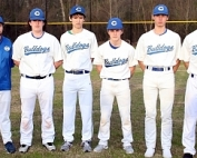 Joining Chamblee Bulldog head baseball coach Brian Ely (far left) at the 2020 DCSD Baseball Media Day were (l-r) Hunter Flowers, Leon Schmidt, Isaac Harkins, Ryan Bray and Michael Sarzen. (Photo by Mark Brock)