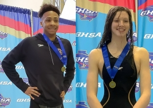 Druid Hills' Idris Muhammad (left) and Chamblee's Kyla Maloney (right) both won gold in the boys' and girls' 100-yard baskstroke, respectively. (Courtesy Photo)