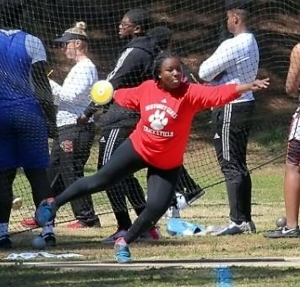 """2019 GHSA Shot Put gold medalist Janae Profit of Dunwoody is eying the gold in the discus this spring after her tops in the U.S. throw of 157'-09"""". (Photo courtesy of GA Milesplit)"""