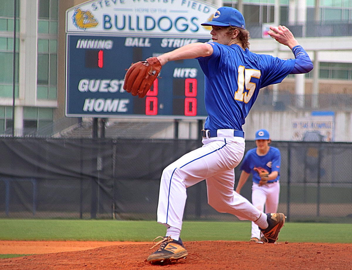 Chamblee's Taylor Flowers came very close to a complete game no-hitter in his 6-0 shutout of the Miller Grove Wolverines in Region 5-5A play on Tuesday at Chamblee. (Photo by Mark Brock)