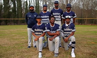 Representing Redan at the 2020 DCSD Baseball Media Day were (front row, l-r) Ryan Pruitt, Keiron Dowell and Jacob Rushin; and (back row, l-r), head coach Alexander Wyche, Myles Collins, Donye Evans and Brandon Lamback. (Photo by Mark Brock)