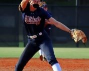 Dunwoody freshman Lindsay Parkes pitched 5 1/3 innings of scoreless relief to keep Dunwoody in the game down 2-0. (Photo by Mark Brock)