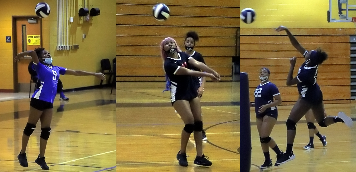 From left to right: Stephenson's Lariah Collins, Stone Mountain's Daisy Gilleylen and Southwest DeKalb's Tamyra Hunt played big roles for their volleyball teams in the season opener at Southwest DeKalb on Tuesday. (Photos by Mark Brock)