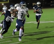 Cedar Grove's Rashod Dubinion (7) shown here on a long touchdown run vs. Redan put four touchdowns on No. 5 ranked Greater Atlanta Christian on Friday night. (Photo by Mark Brock)