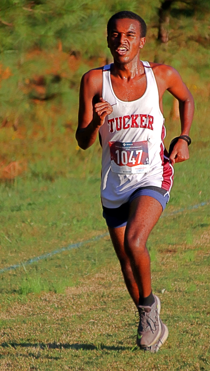 Tucker's Yordanos Ephram claimed the boys' individual title at the 2020 DCSD County Cross Country Championships. (Photo by Mark Brock)