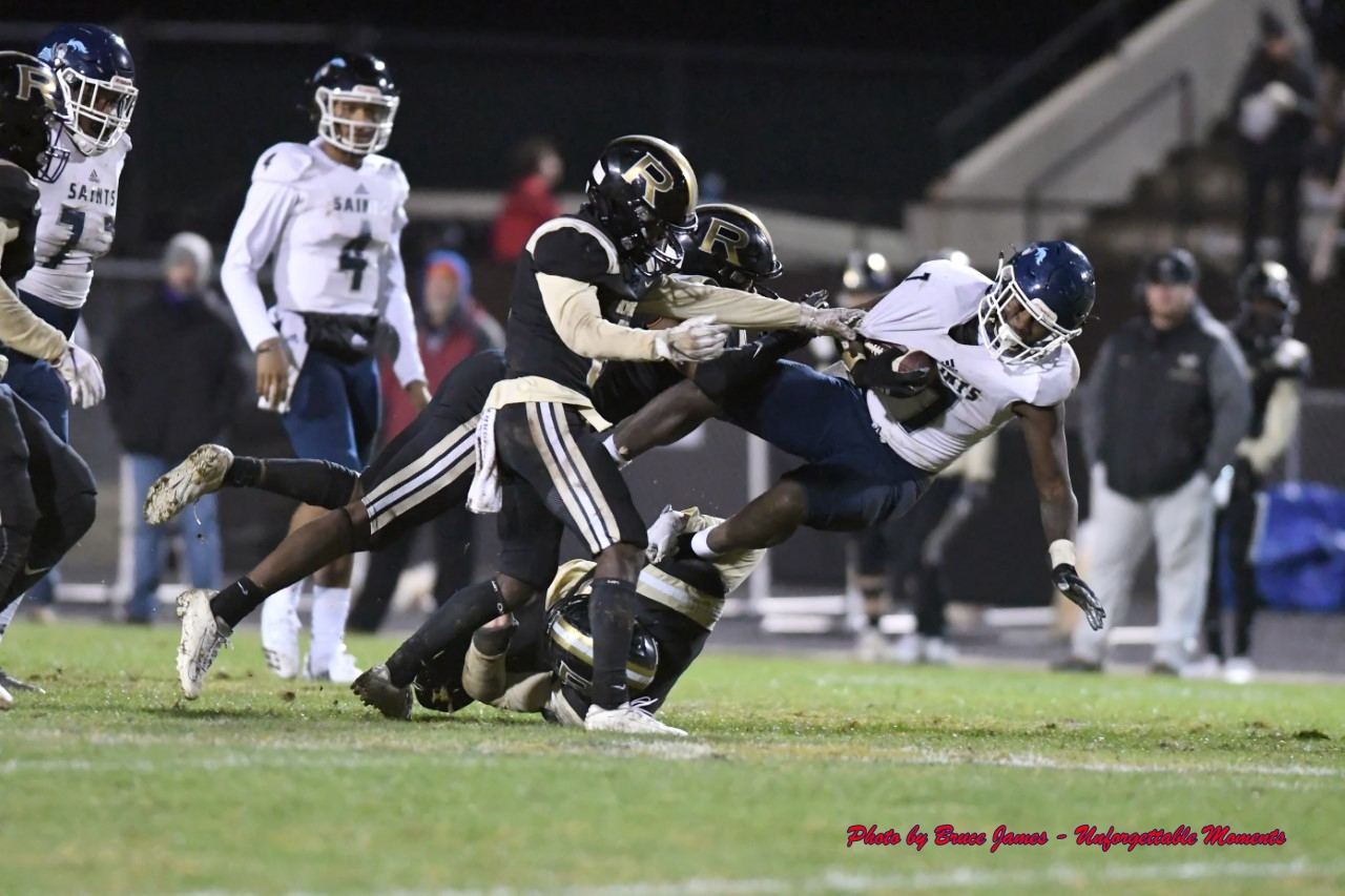 Cedar Grove's Rashod Dubinion (7) picks up some tough yardage against Rockmart. (Photo by Bruce James)