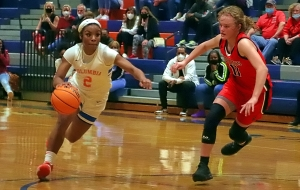 Columbia's India Terrell scored a game-high 33 points to lead the Eagles past No. 4 Rabun County. 50-41. (Photo by Mark Brock)