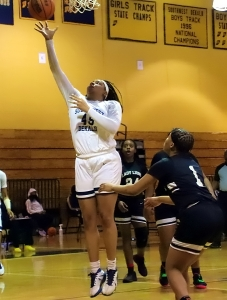 Southwest DeKalb's Taylor Christmas (45) and her teammates host a tough Cass squad on Friday night at 6:00 pm in the Class 5A girls' Sweet 16. (Photo by Mark Brock)