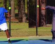 No. 2 doubles player Nathan Aresh (left) and teammate Gunnar Hagan won their doubles match over Southwest DeKalb's Bryson Hairston (right) and teammate Latif Reid. (Photos by Mark Brock)