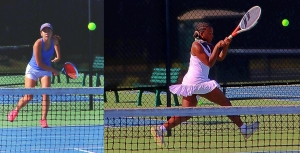 Chamblee's Isabelle Coursey (left) knocked of Southwest DeKalb's Lauren Johnson in No. 1 singles action in the Region 5-5A regular season match. (Photos by Mark Brock)