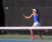 Chamblee's Isabelle Coursey rolled to a 6-0, 6-0 win at No. 2 singles to start Chamblee off on a sweep of Cartersville in the Class 5A girls Sweet 16 state playoffs. (Photo by Mark Brock)