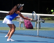 Chamblee's Sophia Cheng on a return as she and No. 1 doubles partner Allison Lvovich won their match 6-4, 6-0. (Photo by Mark Brock)
