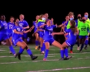 Chamblee's Maci Yeager (8, far right) heads to celebrate with her teammates after hitting the game-winning penalty kick in Chamblee's thrilling overtime Class 5A girls' state playoffs victory against Jackson County. (Photo by Mark Brock)