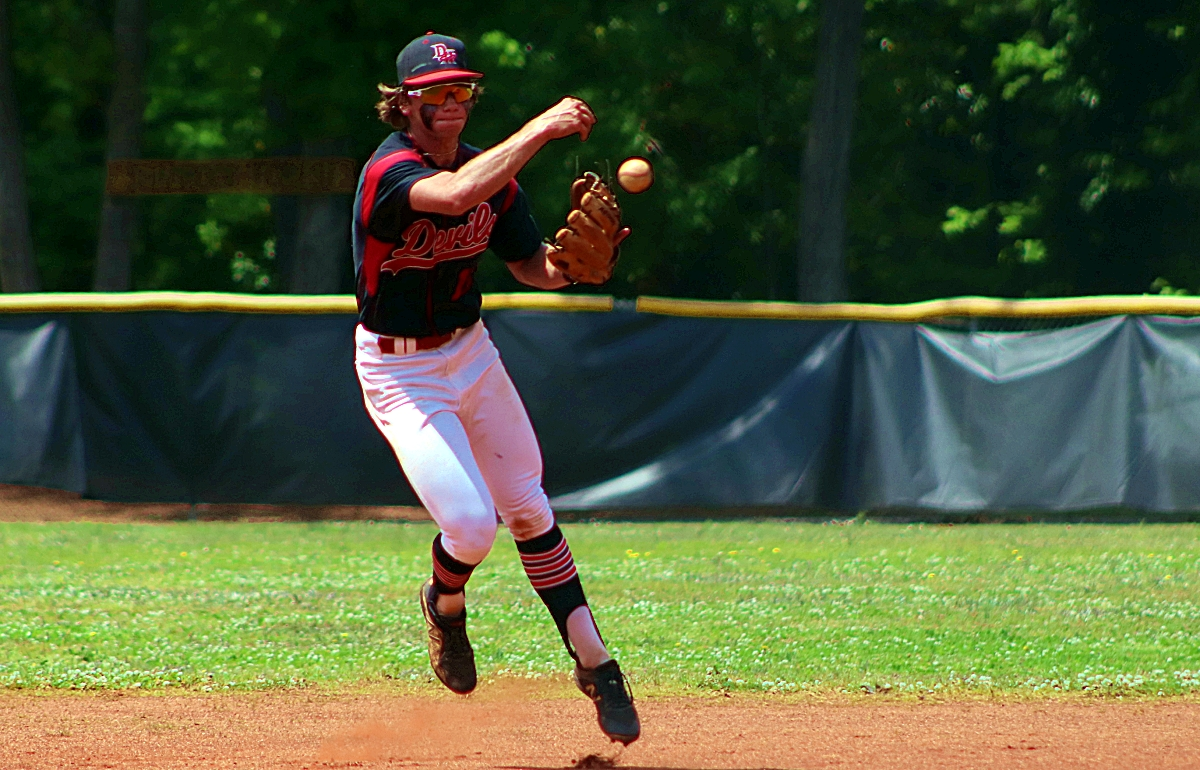Druid Hills shortstop Max Fishbein makes a play in a first round game against Northwest Whitfield. (Photo by Mark Brock)Druid Hills shortstop Max Fishbein makes a play in a first round game against Northwest Whitfield. (Photo by Mark Brock)