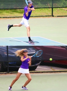Lakeside No. 1 boys' singles Julian Santucci (top photo) was on his way to a win when match was stopped. Lakeside girls' No. 1 singles Johanna Goebel (bottom photo) fell in two sets in her match. Both Lakeside teams fell in the Elite 8 round of the Class 6A state playoffs. (Photos by Mark Brock)