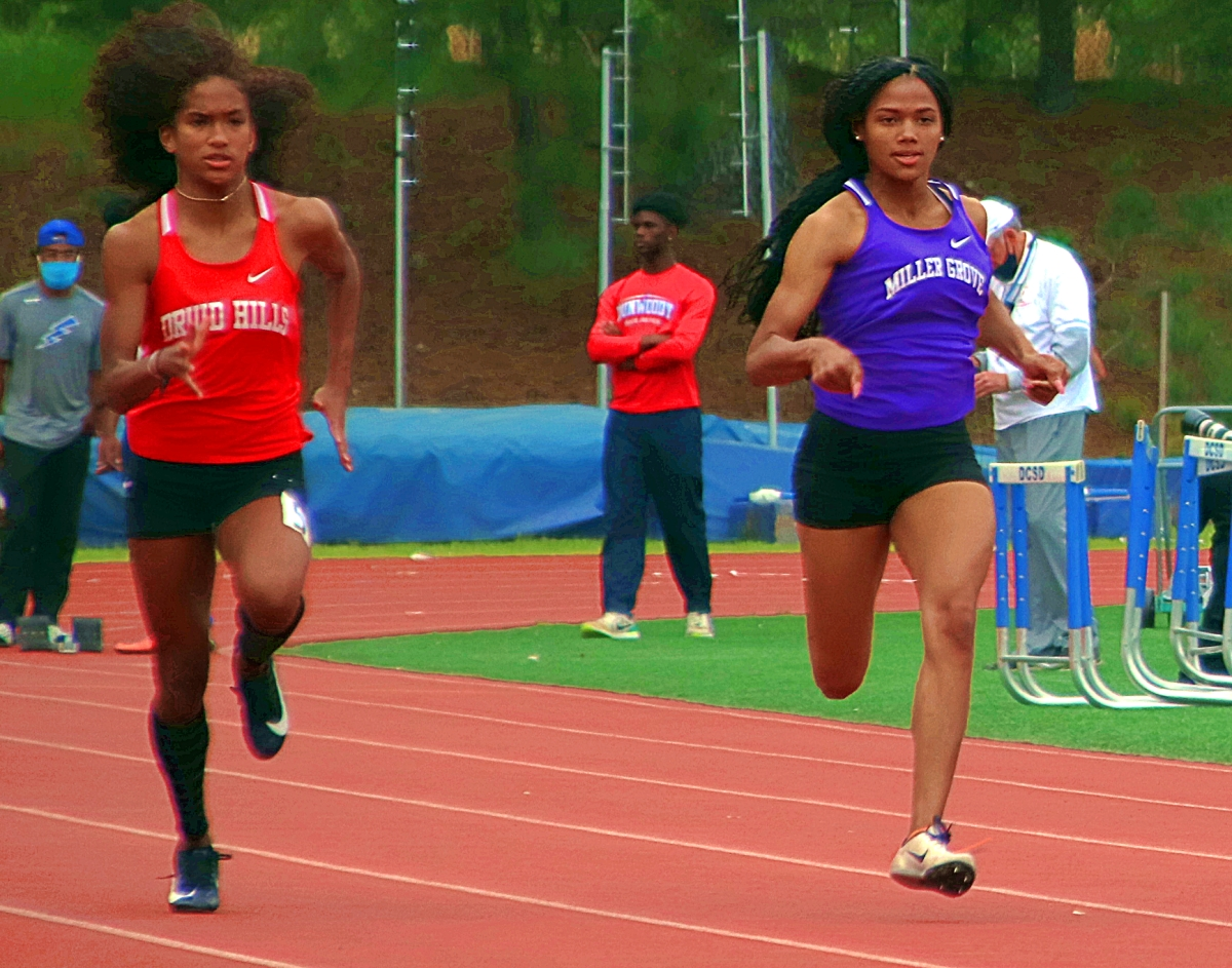 Druid Hills Sanaa Frederick and Miller Grove's Angelica Frederick finished 1-2 in the Region 6-4A 100 and 200 dashes. (Photo by Mark Brock)