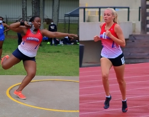 Dunwoody's Janae Profit and Claire Shelton both won a pair of gold medals at the Region 7-7A Track Championships. (Photos by Mark Brock)