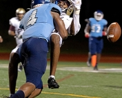 Cedar Grove's Preseason All-State corner back Kayin Lee (4) puts a big hit on a Tucker receiver in the Saints' season opening win. Lee and the No. 1 ranked Saints travel to Class 7A No. 6 Colquitt County for a battle of Top 10 teams. (Photo by Arielle Hayes)