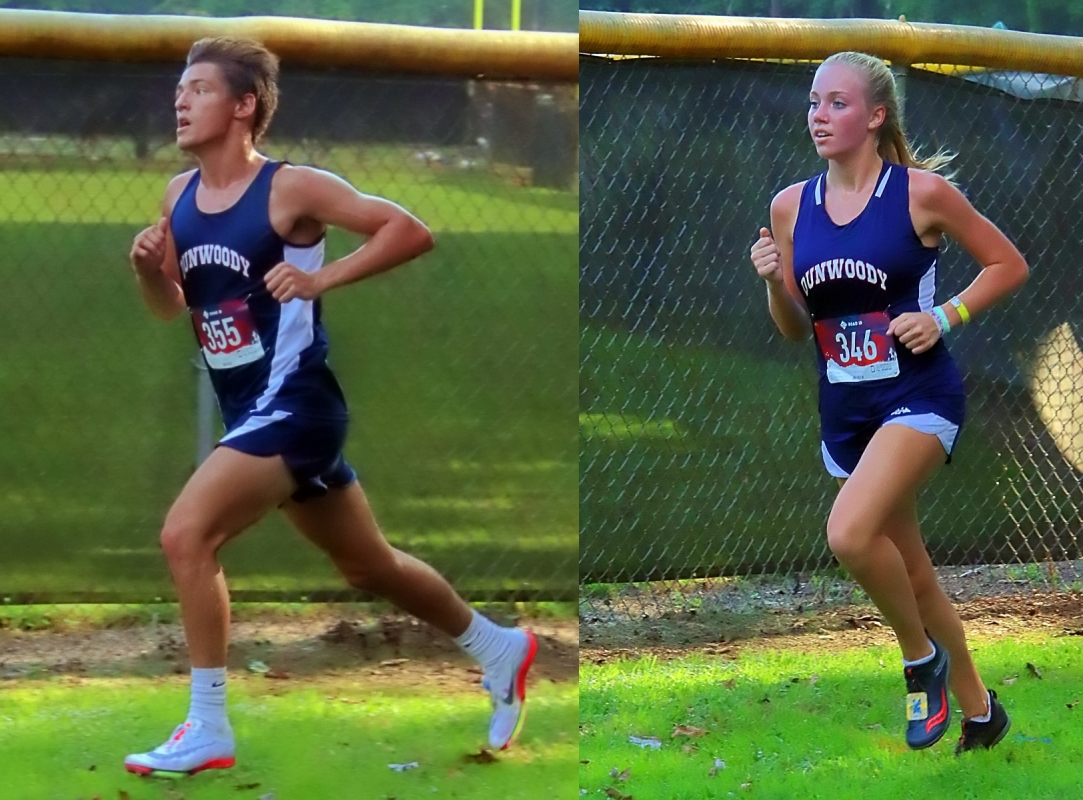 Dunwoody's Ethan Archibald (left) and Claire Shelton (right) swept the season opening varsity races this week. (Photo by Mark Brock)