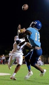 Cedar Grove all-state receiver Janiran Bonner (13) hauls in a touchdown against Tucker earlier this season. (Photo by Arielle Hayes)