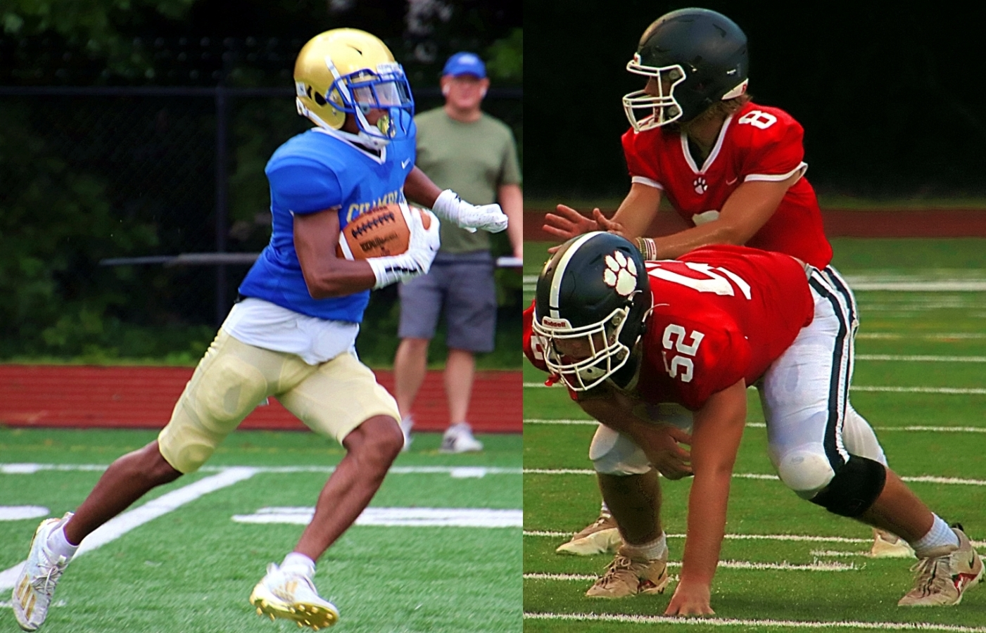 Chamblee's Jameel Avery (left) and the high powered Bulldog offense take on Dunwoody's Porter Ledoyen (right, 8), Conrad Smith (52, right) and their Wildcat teammates in the 24th meeting of the Golden Spike series. (Photos by Mark Brock)