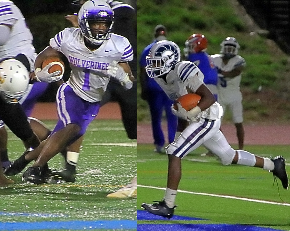 Big running games collide in Region 6-4A meeting led by Miller Grove's Jayden Brown (left) and Arabia Mountain's Solomon Rayton (right). (Photos by Mark Brock)