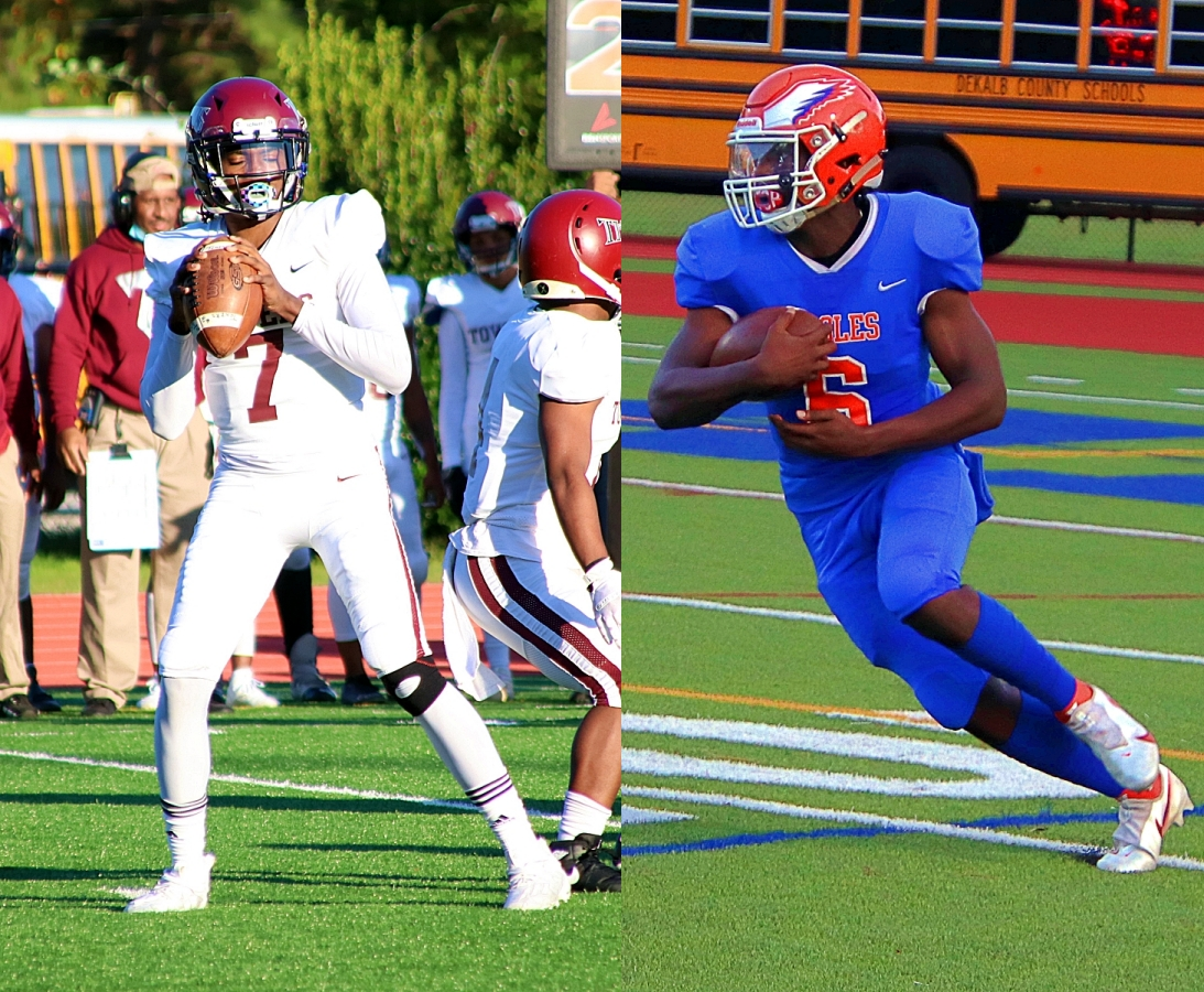 Towers quarterback Isaiah Logan (left) and Columbia running back Roland Edwin (right) are part of an all-DeKalb Region 6-2A rivalry game at Avondale on Friday night. (Photos by Mark Brock)