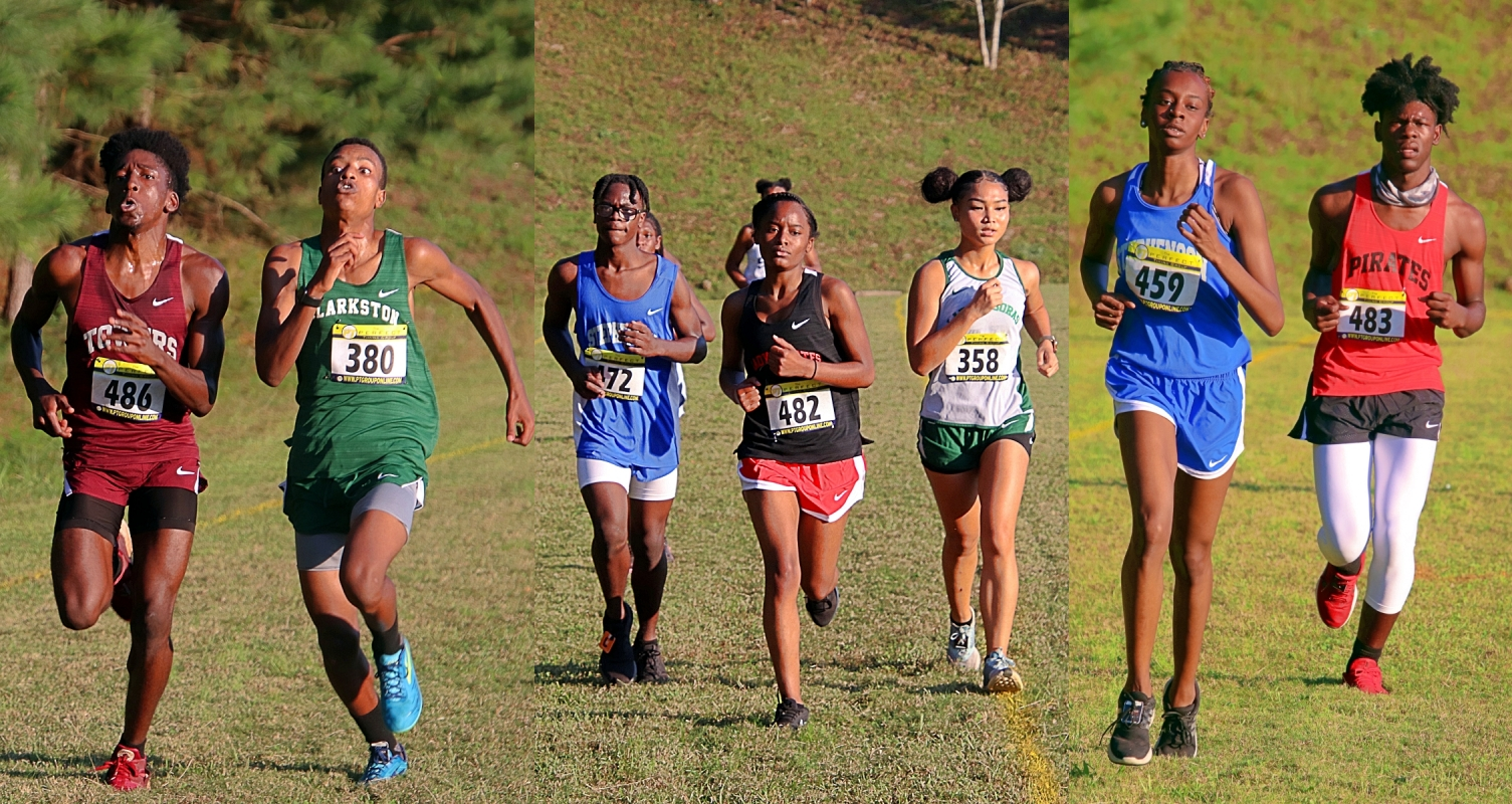 A few scenes headed to the finish line on Tuesday at Arabia Mountain. (Photos by Mark Brock)