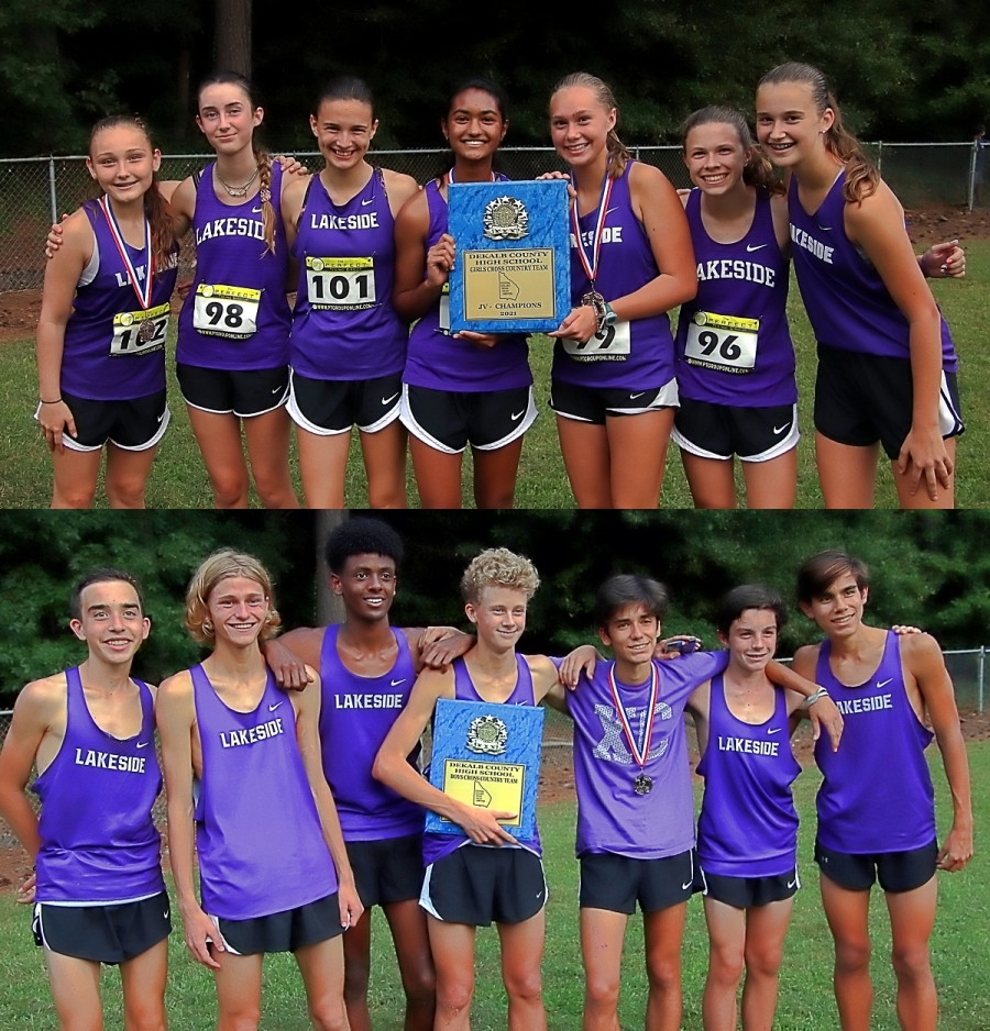 The Lakeside Lady Vikings (top photo) and Vikings both pulled out one-point wins to capture the 2021 DCSD JV Cross Country County Championships. (Photos by Mark Brock)