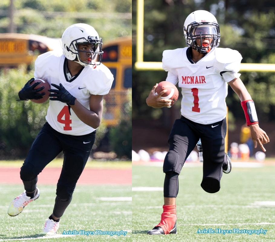 McNair's Shyree Graham (4) caught a pass from Keyontae Phillips with two seconds to play to set up the game-winning two-point conversion in McNair's 16-14 win over Cedar Grove. (Photos by Arielle Hayes Photography).