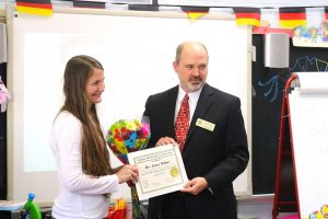 Mrs. Miltner, German teacher at Ashford Park Elementary School, is World Language Educator of the Month.