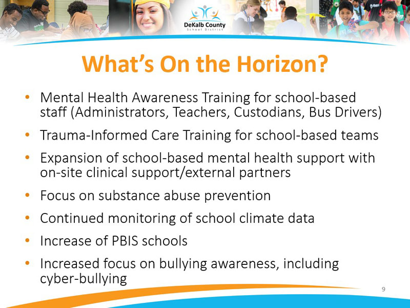 Mental Health Awareness Training for school-based staff (Administrators, Teachers, Custodians, Bus Drivers)
