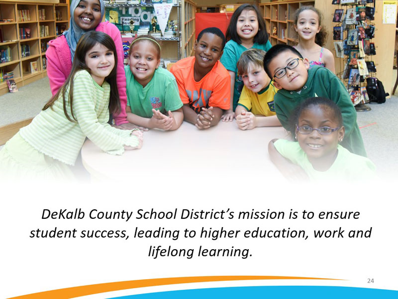 DeKalb County School District's mission is to ensure student success, leading to higher education, work and lifelong learning.