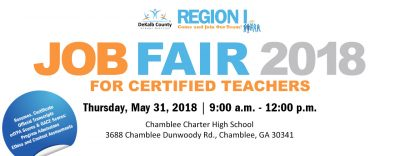 The DeKalb County School District (DCSD) invites all educators, administrators and support personnel to the Region I Job Fair on Thursday, May 31 from 9 a.m. until noon.
