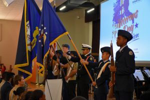 JROTC cadets hold flags