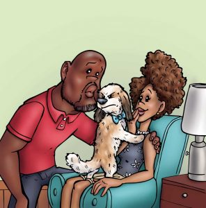 illustration from book of man kissing dog