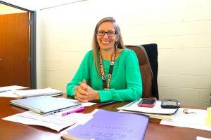 Gail Barnes at deskt