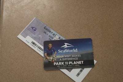 SeaWorld tickets on table